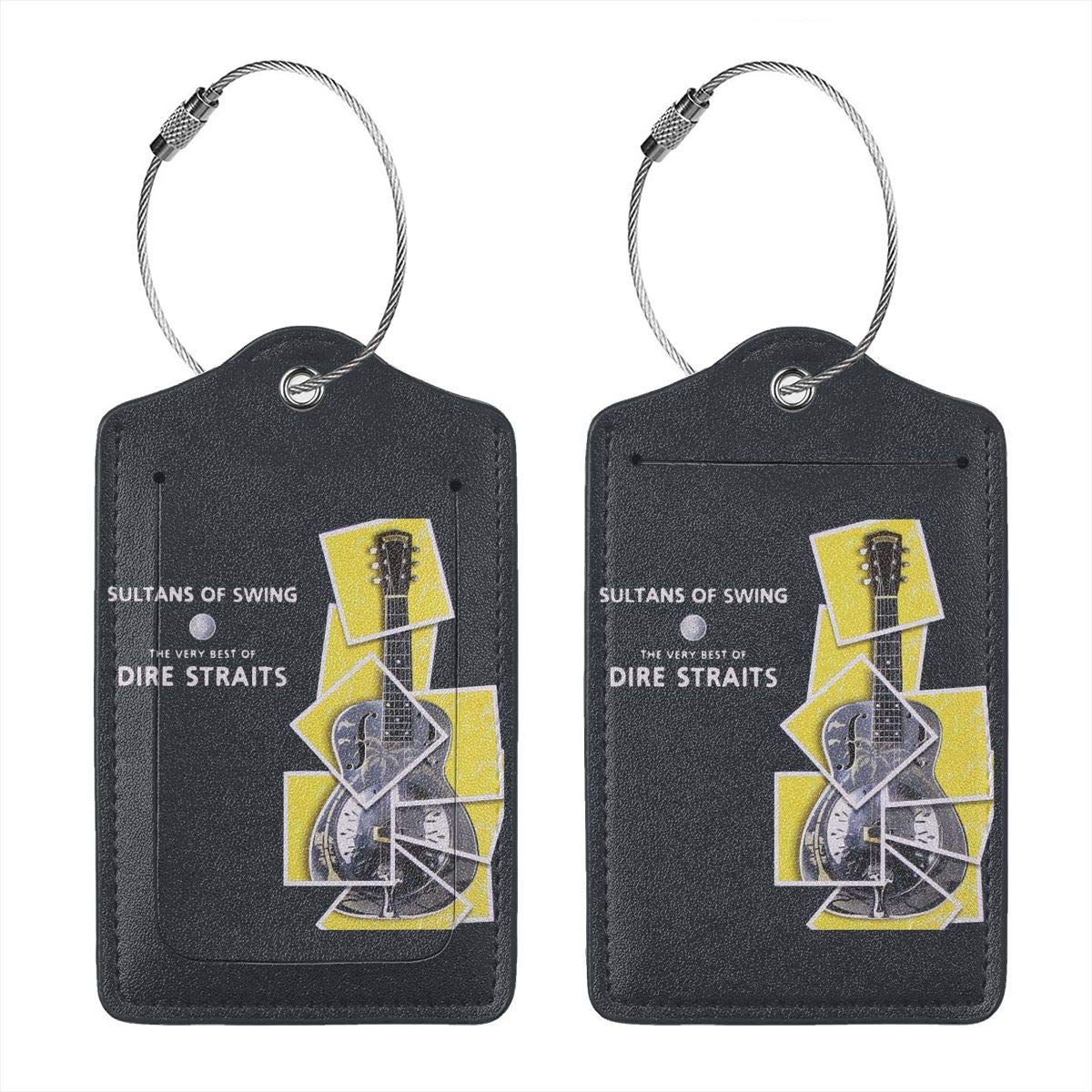Dire Straits Sultans Of Swing Leather Luggage Tags Suitcase Tag Travel Bag Labels With Privacy Cover For Men Women 2 Pack 4 Pack