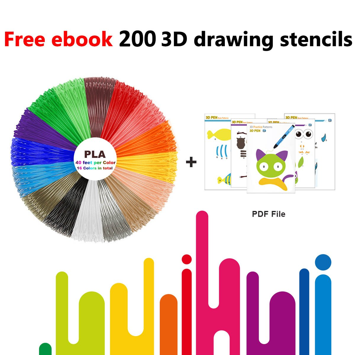 3D Pen Filament Refills PLA 16 Colors 40 Feet 1.75mm with 200 Stencils eBook Total 640 Feet 3D Art Pen Filament for TIPEYE, Canbor, MYNT3D, DigiHero, Zerofire, Dikale, BeTIM 3D Printing Pen and etc by TIPEYE (Image #3)