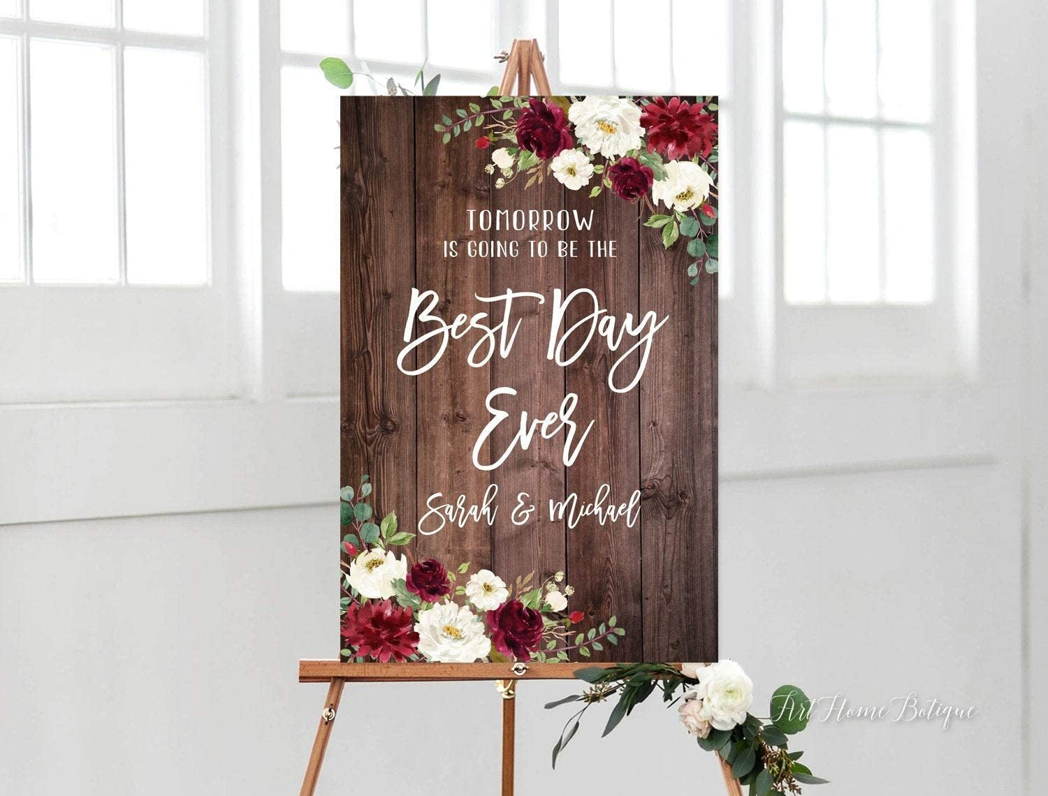 daoyiqi Wood Wedding Welcome Signs Tomorrow is Going to Be The Best Day Ever Rustic Rehearsal Dinner Printable Digital File Burgundy and White Welcome Sign for Decoration 12x18