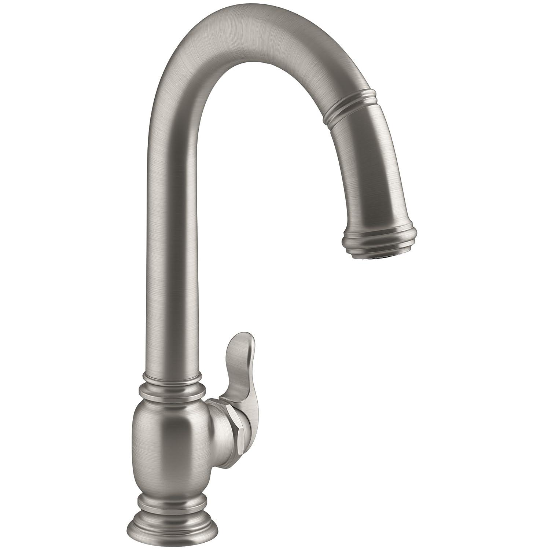 KOHLER K-99332-VS Beckon Electronic Pull-Down Kitchen Sink Faucet, Vibrant Stainless