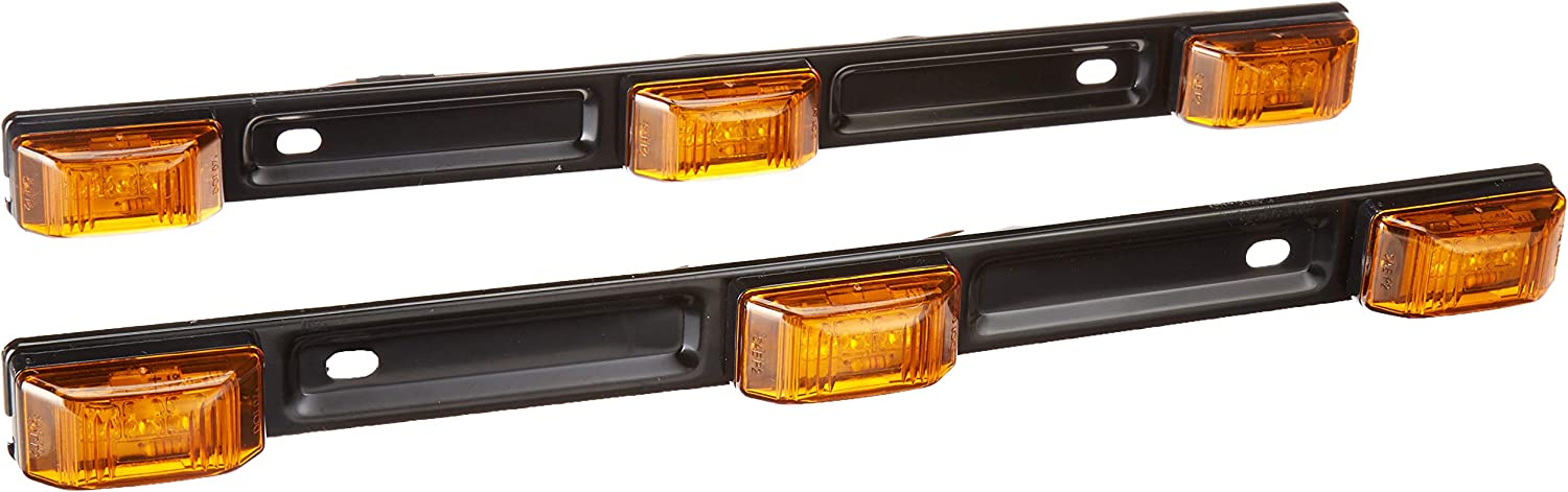 IP67 Submersible DOT Certified Stainless Steel Bracket EZ Installation 1 Pack Clearance ID Marker Light Bar For 80 Wide Trucks /& Boat Trailers Waterproof Abrams 15 Amber 9 LED Trailer Lights