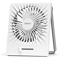 Fancii Portable Personal Desk Fan, Rechargeable Small USB Table Fan with Turbo Airflow, Whisper Quiet, Adjustable Stand…