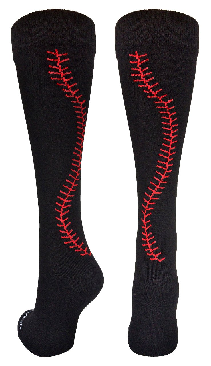 MadSportsStuff Softball Socks with Stitches Over The Calf (Black/Red, Small)