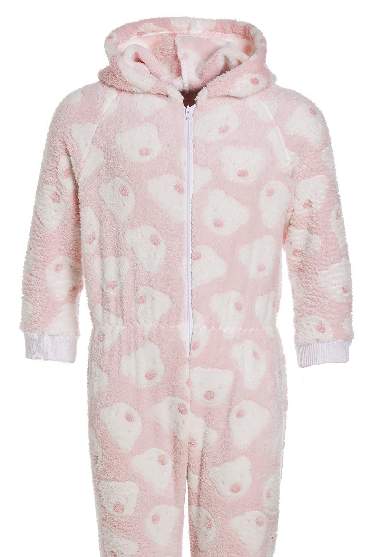 9f3edf6cbc84 Camille - Pigiama intero bambino in morbido pile con cappuccio e motivo con  orsi - rosa ingrandisci