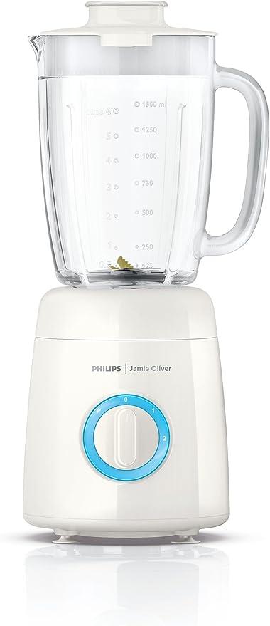 Philips HR2172/00 - Batidora Jamie Oliver 600 W, Jarra de vidrio de gran calidad 2 l, tecnología ProBlend 5, 2 velocidades y una posición Pulse: Amazon.es: Hogar
