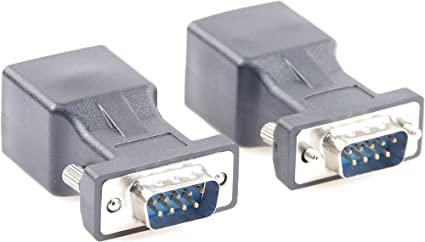DB9 9-Pin Serial Port Female/&Male to RJ45 CAT5 CAT6 Ethernet LAN Extend Adapter Cable-2pcs 2-Adapter DB9 RS232 to RJ45