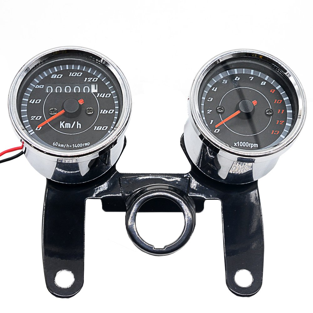 Ocamo 2 in 1 Motorcycle LED Backlight Odometer & Tachometer Speedometer Gauge Universal