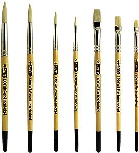ZEM Brush Interlocked White Hog Bristle Artist Brush Set Rounds 2,4,6,8 and Flats 2,4,6