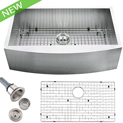 VCCUCINE Modern Commercial 36 Inch Farmhouse Undermount Apron Handmade  Single Bowl Stainless Steel Kitchen Sink