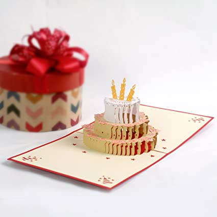 Amazon Com Cutpopup 3d Popup Cards Of Birthday Cake One Of Paper