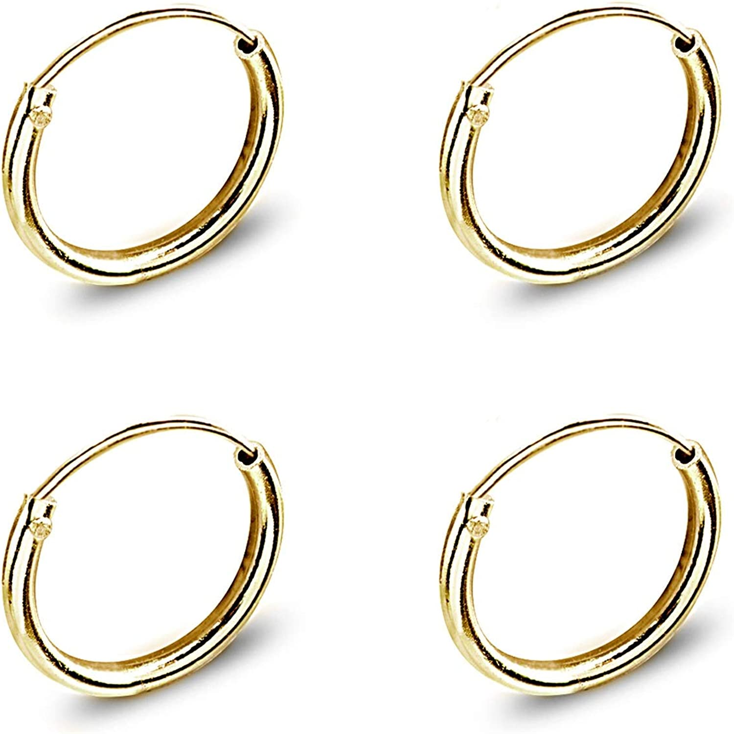 Set of 2 Gold Flash Sterling Silver Small Endless 10mm Thin Round Cartilage Hoop Earrings for Women Men