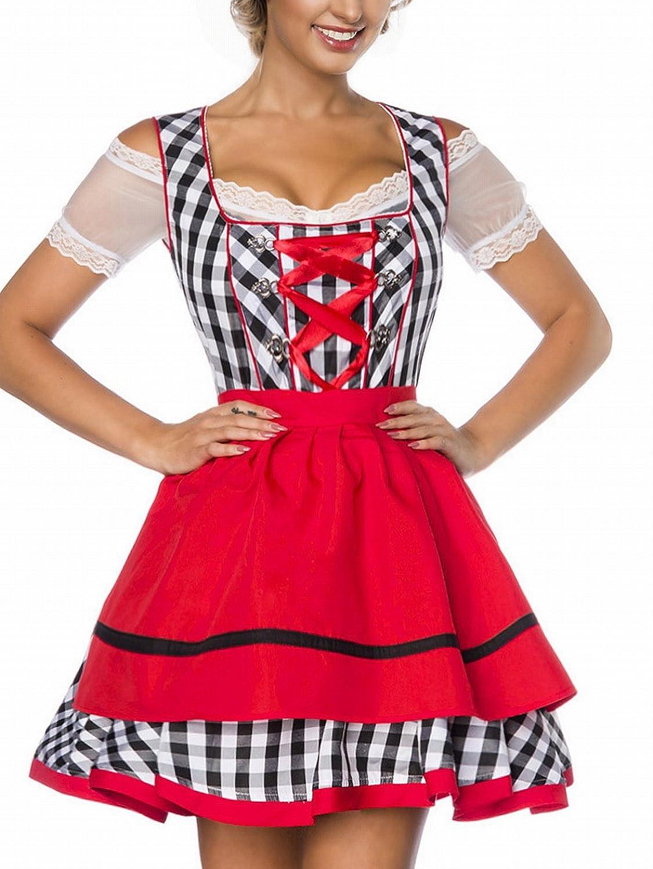Dirndl Kleid Kostüm mit Schürze Minidirndl mit Karomuster und ausgestelltem Rockteil Oktoberfest Dirndl schwarz/weiß/rot