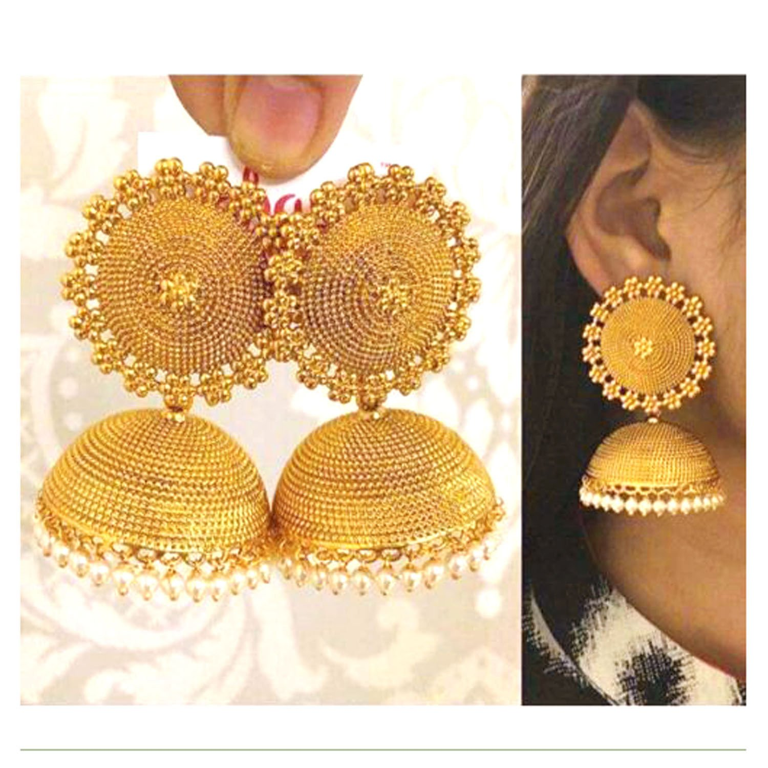 SANARA Traditional Indian Bollywood Gold Plated Black Color Bali Jhumka Jhumki Earrings Women /& Girls Party /& Gift Jewelry