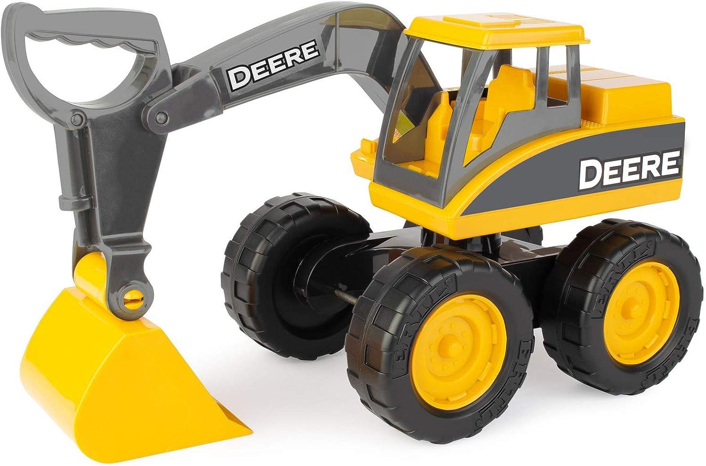 John Deere Big Scoop Construction Toy Excavator with Tilting Dump Bed and Rolling Wheels, 15 Inch