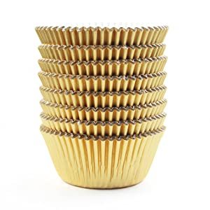 Eoonfirst Gold Foil Metallic Cupcake Case Liners Baking Muffin Paper Cases 198 Pcs