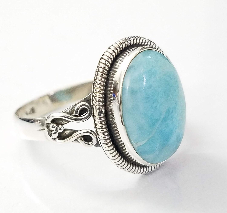 ring Fine Jewelry Elegant Designer Round Gemstone 925 Sterling Silver Stamped Ladies Larimar Ring