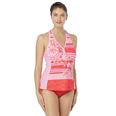 Beach House Women's Racer Back Zip Front Tankini Swimsuit Top at Amazon Women's Clothing store