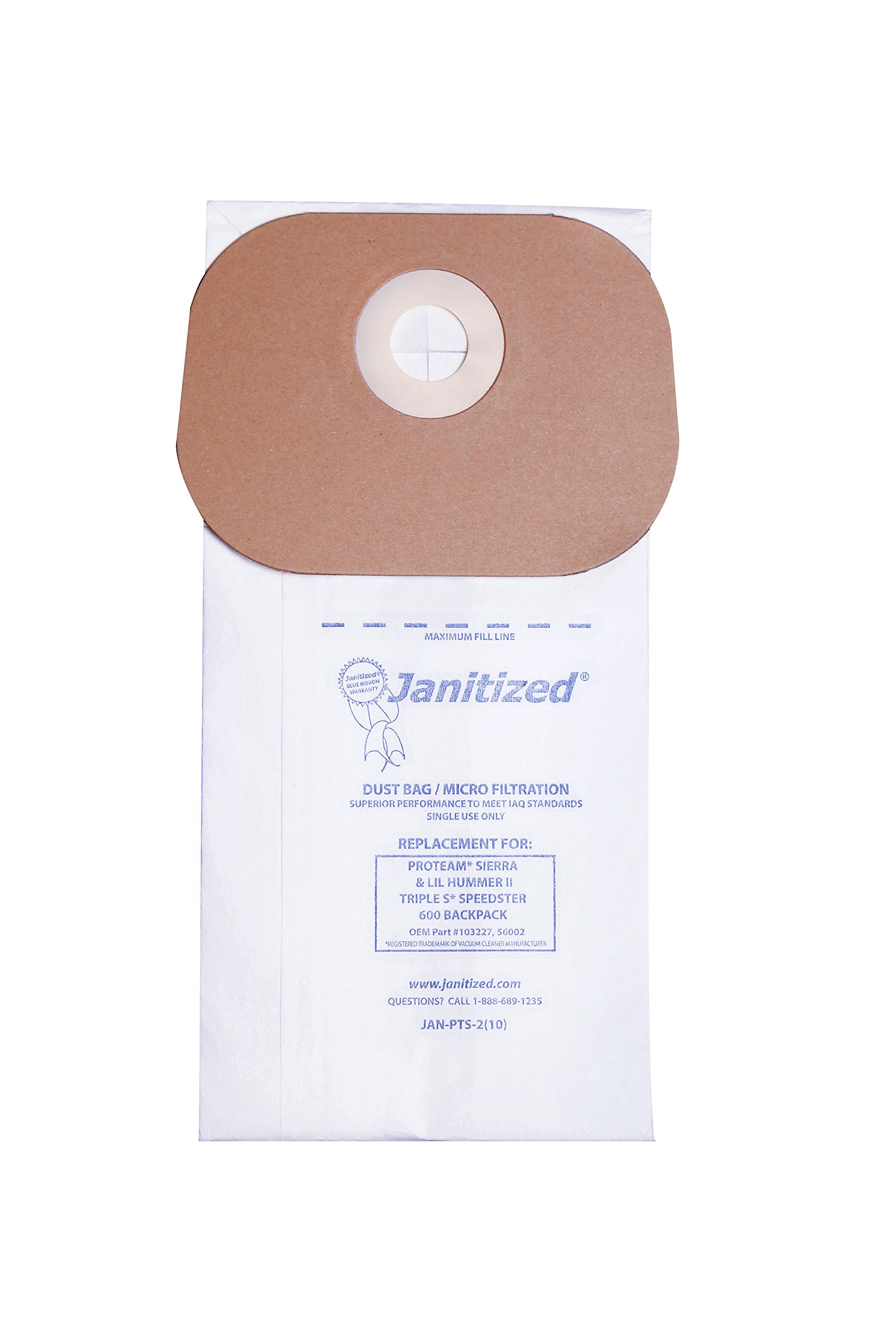 Janitized JAN-PTS-2(10) Paper Premium Replacement Commercial Vacuum Bag For ProTeam Sierra & Lil Hummer II, Triple S Speedster 600 Vacuum Cleaners (10 - 10 packs)