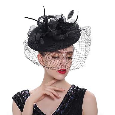 8d379962 LATIMOON Sinamay Fascinators Kentucky Derby Headband Bridal Wedding Hats  Tea Party Headwear for Women and Girls