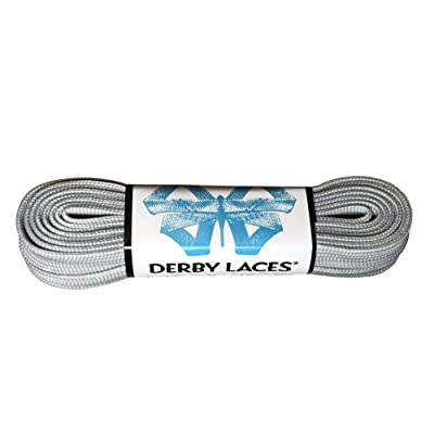 Solid Gray - Flat, 10mm Wide, Waxed Shoe Lace for Boots, Skates, Roller Derby, and Hockey Skates : Sports & Outdoors