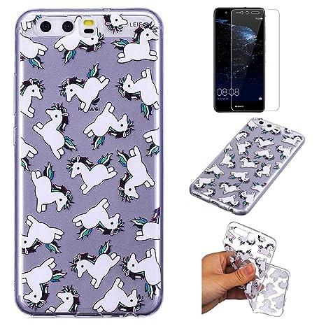 QFUN Funda Huawei P10 Silicona Transparente, Suave Carcasa Flexible con Dibujos [Unicornio] Ultra Slim Fina Gel TPU Bumper Case Anti-rasguños ...