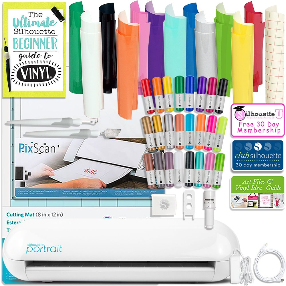 Silhouette Portrait 2 (Cameo Mini) Electronic Cutting Machine with Auto Adjusting Blade and Bluetooth, Oracal 651 Vinyl, Pixscan, Sketch Pens, Guides, and More