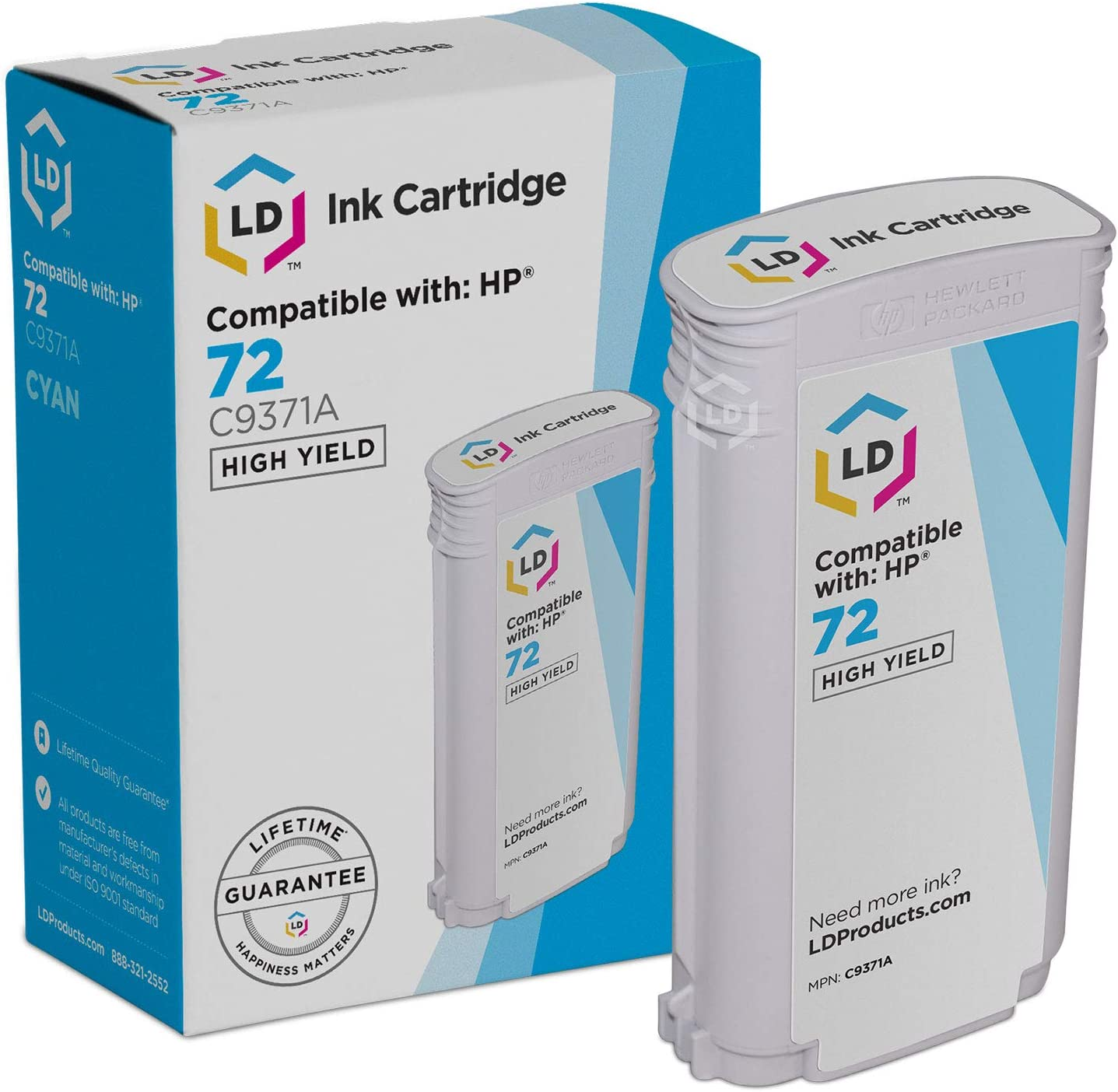 LD Remanufactured Ink Cartridge Replacement for HP 72 C9371A High Yield (Cyan)