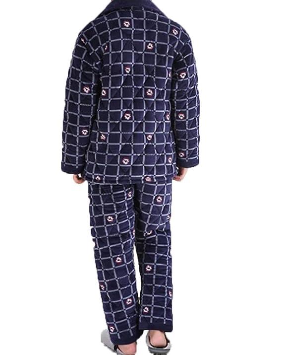 Pijamas Invierno Coral Cachemir Tres Capas De Algodón Engrosamiento Pijama Hombres Cardigan Hogar Ropa Traje: Amazon.es: Ropa y accesorios