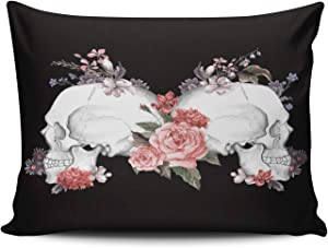 CENYUO Pillowcase Vintage Roses and Skull Day of The Dead Decorative Throw Pillow Case Cushion Cover Standard 20x26 Inch for Home Decor Sofa Bedroom