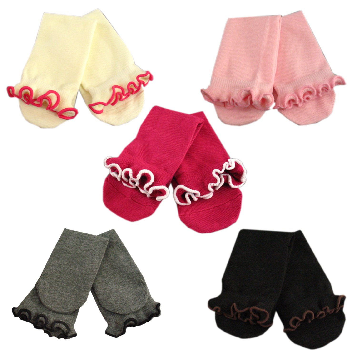 513ad3e8505 Amazon.com  Deer Mum Kids Toddler Girls Colorful Lace Frilly Knee Stocking  Boot Socks 5 Pairs 3-6 Yrs (Multicolor1)  Clothing