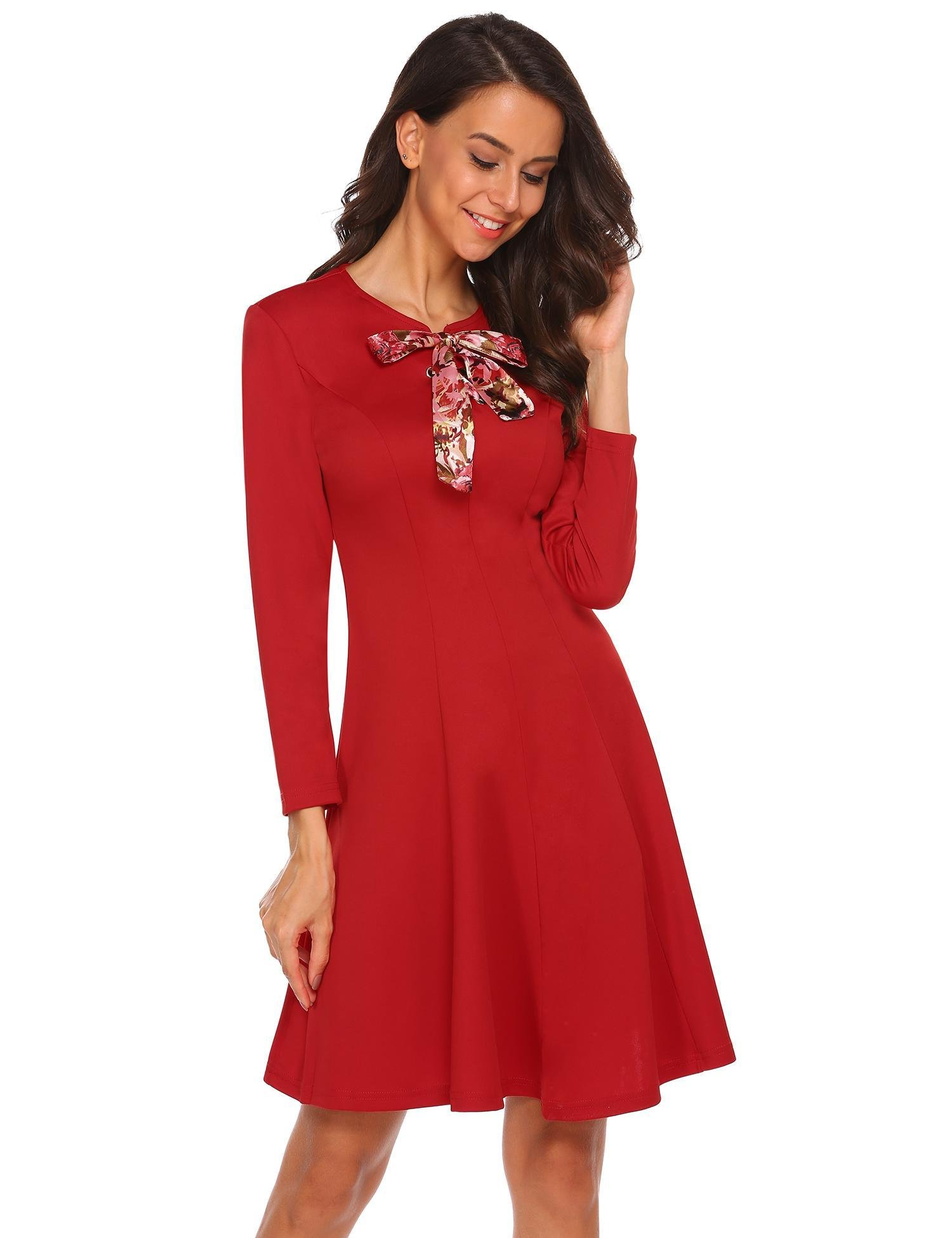 d856f78f6462 Misakia Women Long Sleeve Casual Scoop Neck Fit and Flare Dress with Bow  Tie Neck,