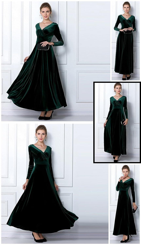 Abuyall Women Velvet Dress Long Sleeve Maxi Ruched Stretchy Tunic Dress