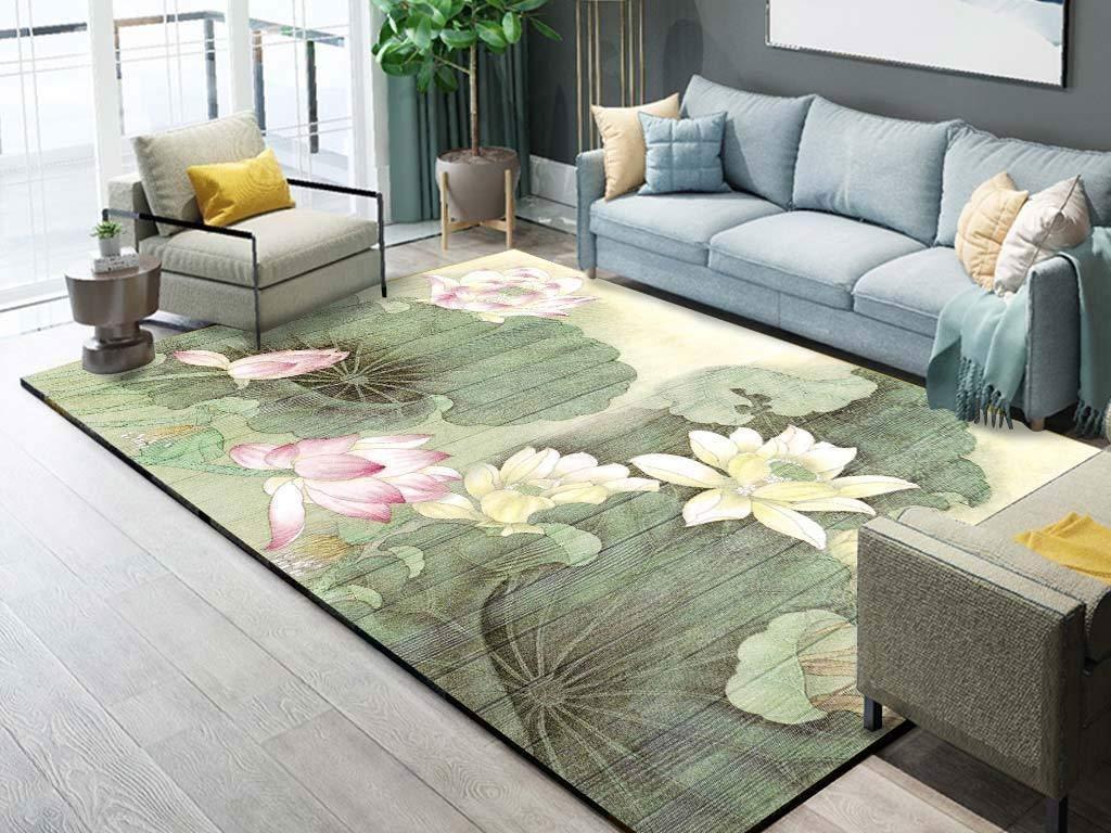 花柄デザイン エリアカーペット コーヒーテーブルマット 長方形 耐湿性 滑り止め (Size : 80×120cm) B07R47TBKR
