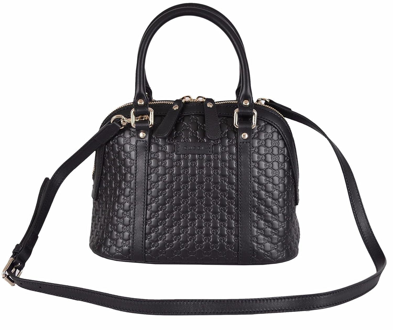 01773f9cdad87e Amazon.com: Gucci Women's Micro GG Black Leather Convertible Mini Dome Purse:  Shoes