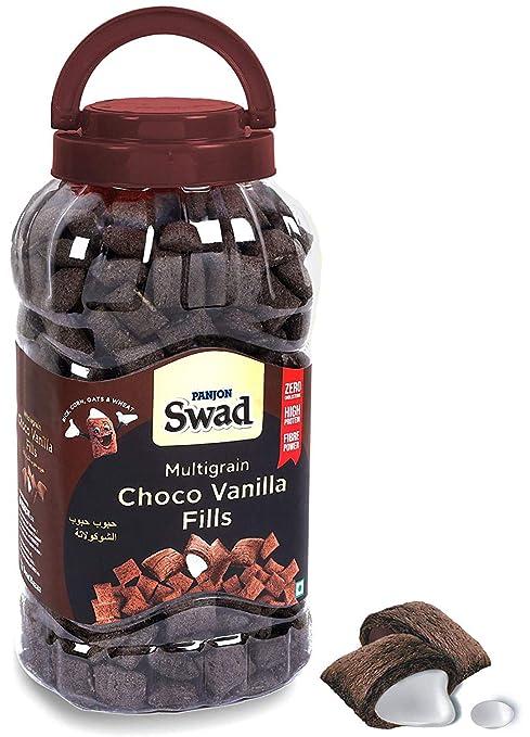 Swad Breakfast Cereal, Multigrain Choco Vanilla Fills (Made with Oats, Corn, Wheat, Rice, Zero Cholesterol Chocolate Dark Choco Fills) Jar, 370 g