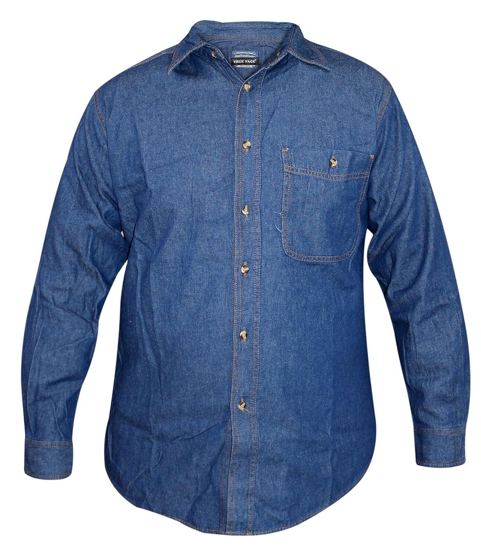 Camicia in jeans a maniche lunghe da uomo di True Face, lavaggio scuro, cotone, colletto, stile casual