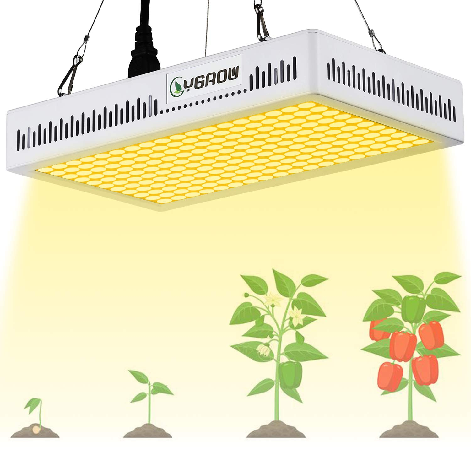 YGROW LED Grow Light Full Spectrum 600W,Reflector-Series Plant Grow Lights for Indoor Plants Veg and Flower with Heatproof Casing 3500K