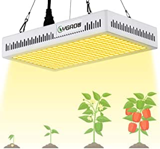 YGROW 600W LED Grow Light Full Spectrum,Update Light Plant Bulbs Growing Light Bulb for Indoor Plants Veg and Flower with Heatproof Casing 3500K Father's Day Gifts