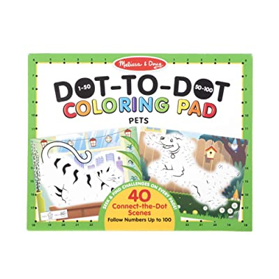 "Melissa & Doug 123 Dot-to-Dot Pets Coloring Pad (Connect The Dots 1-100 and Seek & Find Activities; 40 Scenes, 11"" x 14"", Great Gift for Girls and Boys – Best for 4, 5, 6, 7 and 8 Year Olds), 30261: Toys & Games"