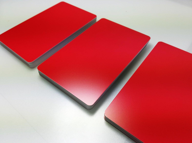 Premium Tarjetas de de plástico | Tarjetas de de PVC color rojo mate | 1 – 100 pieza | en blanco vírgenes | nuevo, color rojo opaco 85 x 54 x 0,76 mm a98ebe