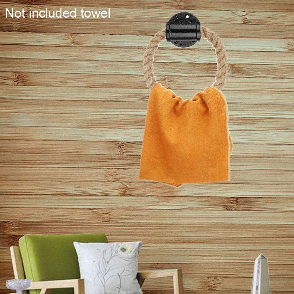 Alicer Wand Handtuchring,Vintage Handtuchring Gusseisen Wandhalterung Handtuchhalter mit Hanf Cord Industrial Style Badezimmer WC Seil Rack