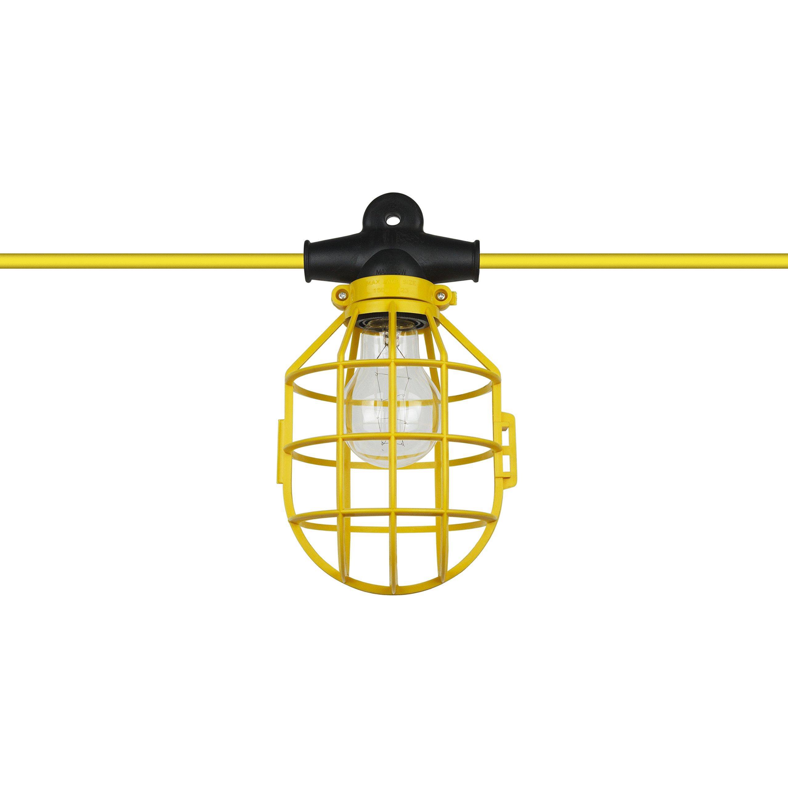 Sunlite EX50-14/2/SL Commercial-Grade Cage String, 50-Feet, 5 Medium Base Sockets (E26), Indoor, Outdoor, Construction Lighting, ETL Listed, Foot, Yellow by Sunlite
