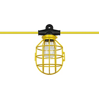 Sunlite EX50-14/2/SL Commercial-Grade Cage String, 50-Feet, 5 Medium Base Sockets (E26), Indoor, Outdoor, Construction Lighting, ETL Listed, Foot, Yellow