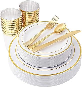 150-Piece IOOOOO Gold Plastic Plates & Plastic Silverware & Gold Cups