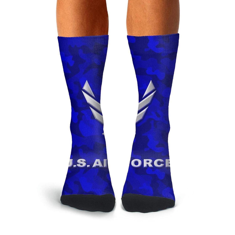 KCOSSH blue camo us air force Crazy Crew Sock Cool Calf Socks for Mens