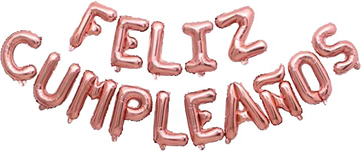 Feliz Cumpleaños 16 inch Letter Foil Mylar Balloon Banner Kit by Zeylo Party Supply, Rose Gold