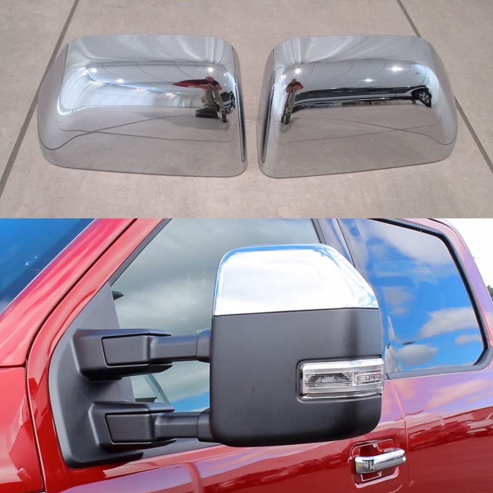 2008-2016 FORD F250 F350 F450 F550 Chrome Mirror Covers Top Half TOWING Overlays