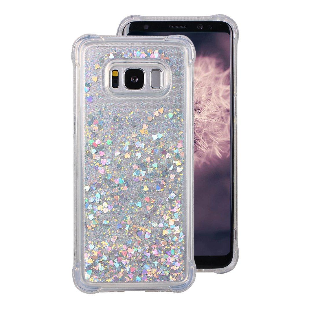 Galaxy S8 Liquid móvil, lazo rosa 3d fließen líquido Bling dinámico arenas movedizas estrella brillante Case antideslizante Resistente a arañazos ...