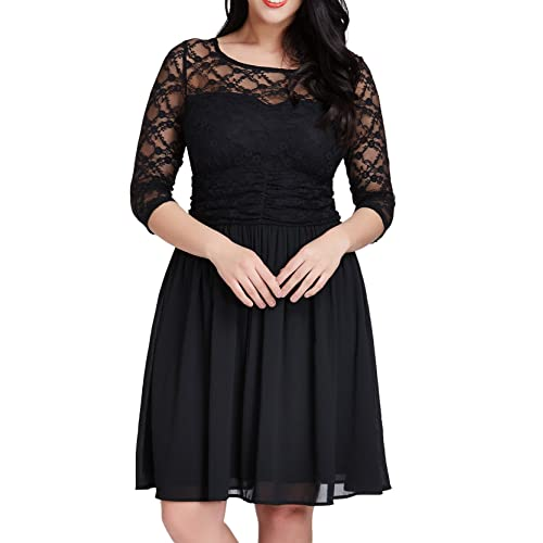 GRAPENT Womens Plus Size Cocktail Lace Top Chiffon Skirt Evening A-line Black Dress 12W