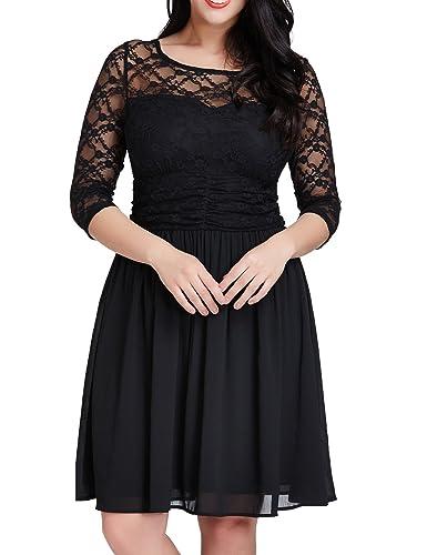 Grapent Women's Plus Size Cocktail Lace Top Chiffon Skirt Evening A-line Dress
